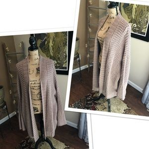 Express taupe bell sleeve oversized cardigan